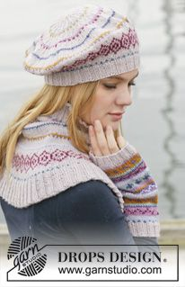 "Sweet As Candy Set - Set consists of: Knitted DROPS beret, neck warmer and wrist warmers with multi-colored pattern in border in ""Karisma"". - Free pattern by DROPS Design Knitted Beret, Knit Mittens, Knitted Gloves, Knit Cowl, Drops Design, Bonnet Crochet, Knit Crochet, Crochet Hats, Crochet Granny"