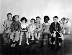 "The Little Rascals....(L to R) Harold Switzer,  Scotty Beckett, Darla Hood, Baby Patsy.  George ""Spanky"" McFarland, William ""Buckwheat"" Thomas, Carl ""Alfalfa"" Switzer, Pete the Pup."