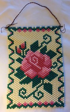 """Hand Crafted Hanging Beaded Banner Red and Pink Roses 10"""" W x 16"""" H FREE SHIP"""