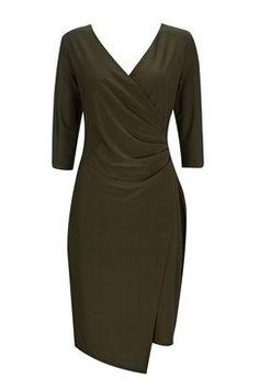 Khaki Plain Wrap Dress
