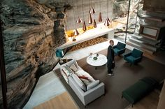 The living room in Ex Machina were shot at a private summer house called The Residence designed by Jensen & Skodvin. Interior Exterior, Best Interior, Interior Architecture, Ex Machina House, Style Minimaliste, Copper Lighting, House On The Rock, Architectural Digest, Interior Inspiration