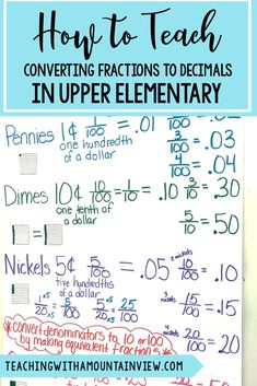 Converting fractions to decimals can be a tricky concept in upper elementary. My fourth and fifth graders and I created this anchor chart to go with our lesson - and it was a HUGE success! #mathlesson #fourthgrade #fifthgrade