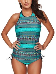 Elastic Printed Backless Two Piece Set Tankinis Plus Size Swimsuits, Women Swimsuits, Over The Shoulder Bags, Tankini Top, Stripe Print, Bikini Swimwear, Clothing Items, Bikini Bottoms, Look