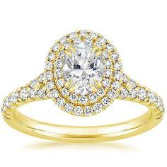 Oval Cut Gala Diamond Engagement Ring - 18K Yellow Gold