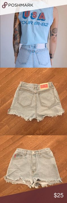 Vintage Bongo High Waist Shorts -Fringe Cutoff's These sexy light blue denim shorts are a must have this summer! One of a kind fringe cut high waisted Bongo Shorts. Small verticals tare on right front leg gives it extra character!! BONGO Shorts Jean Shorts