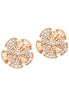 Gold and diamond flower earrings from the Bulgari Bvlgari Diva collection
