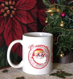 SANTA & STARS Hand-decorated Coffe Mug