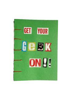 Get Your Geek ON !! coptic journal GREEN hand bound with RED stitching 192 plain white pages unique Retro book for Sci-fi Geek Chic fan - pinned by pin4etsy.com