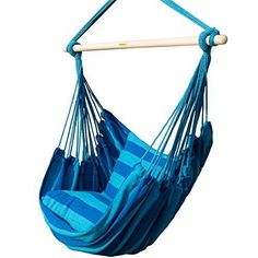 prime garden seaside stripe soft  fort hanging rope hammock chair for any indoor or outdoor spaces   max  275 lbs seaside blue stripe   best online     prime garden hanging rope hammock chair porch swing seat for      rh   pinterest