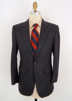 Brooks Brothers Charcoal Blazer / gray wool sport coat / vintage suit jacket / mens 38. $55.00, via Etsy.