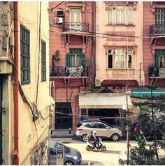 Beirut's pastel pink buildings