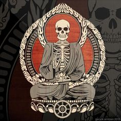 "just-art: ""Starving Buddha by Magnaen "" Buddha Tattoos, Arm Tattoos, Sleeve Tattoos, Tatoos, Buddha Drawing, Zen, Psy Art, Skeleton Art, Gautama Buddha"