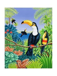 Giclee Print: Toucans, 1993 by Liz Wright : 24x18in