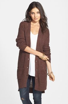 Rubbish® Rib Knit Tunic Cardigan (Juniors) available at #Nordstrom