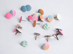 DIY Idea: Colorful Nailpolished Thumbtacks Mod Cloth.  What a simple yet colorful solution for the office or home-office!