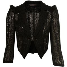Black Lace Jacket ($55) ❤ liked on Polyvore featuring outerwear, jackets, coats, tops, women's clothing, miss selfridge and lace jacket