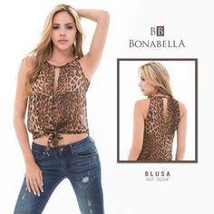 Para un look casual puedes llevar una blusa o top animal print y combinarlo con unos jeans.  Precio blusa: http://bonabella.com.co/producto/blusa-25254/