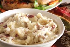 Red skinned mashed potatoes with garlic and parmesan