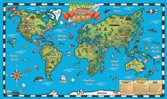 World map pin board framed in oak wood includes pins iposters 5695 kids world map interactive wall chart gumiabroncs Choice Image