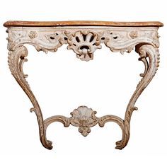 18th Century Louis XV White-Painted Console Table | From a unique collection of antique and modern console tables at http://www.1stdibs.com/furniture/tables/console-tables/