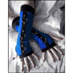 Shock Wave Gothic Unisex Bondage Arm Warmers - Bright Royal Blue Black... ($38) ❤ liked on Polyvore featuring accessories, gloves, goth, long evening gloves, gothic arm warmers, long arm warmers, royal blue gloves and gothic gloves