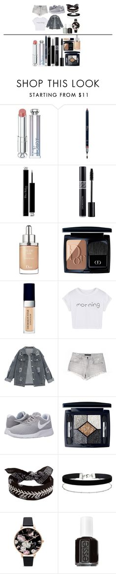 """Long work"" by nicolejohnsonx on Polyvore featuring Christian Dior, WithChic, Joe's Jeans, NIKE, Fallon, Miss Selfridge, Olivia Burton and Essie"