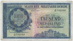 1000 SCHILLING 1944 (MILITÄRSCHILLING) Nachkriegszeit in Österreich