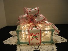 Candy Cane Ribbon Block on clear block by Originalsbysuej on Etsy, $25.00