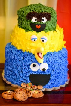 Children's Birthday Cakes - *  My Grandson's 2nd Birthday Party   Sesame Street Theme  Cookie Monster is a Chocolate Chip cake/ Buttercream with Fondant Accent  Big Bird is a Vanilla cake with Fondant  Oscar is a Strawberry Gluten Free with Buttercream Frosting & Fondant Accents
