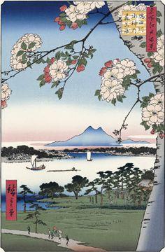 Utagawa Hiroshige (Japanese Ukiyo-e Printmaker, ca.1797 -1858) / Suijin Woods and Masaki on the Sumida River Banks, from the series One Hundred Famous Views of Edo(Meisho Edo hyakkei)