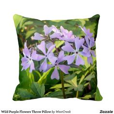 Wild Purple Flowers Throw Pillow