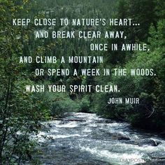 """""""Keep close to Nature's heart… and break clear away, once in awhile, and climb a mountain or spend a week in the woods. Wash your spirit clean."""" quote by John Muir Life Quotes Love, Great Quotes, Quotes To Live By, Me Quotes, Inspirational Quotes, Peace Quotes, Motivational, Beauty Quotes, The Words"""