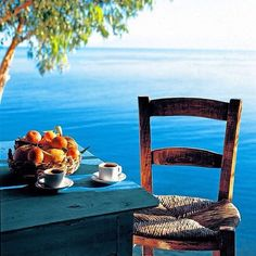 Morning Coffee in Greece Beautiful World, Beautiful Places, Beautiful Sky, I Need Vitamin Sea, Pause Café, Outdoor Furniture Sets, Outdoor Decor, Outdoor Life, Best Places To Travel