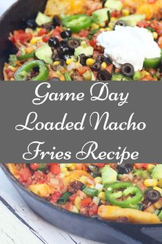 Game Day Loaded Nacho Fries will have you ready for the big game! Crispy fries loaded with everything you love about nachos… beef, cheese, and all the fixin's! These loaded nacho fries are the answer to my junk food dreams because they're two of my favorite snacks, french fries and nachos, combined into one satisfying dish. Nacho Fries, French Fries Recipe, Famous French, Big Game, Nachos, Eat Healthy, Junk Food, Beef, Cheese