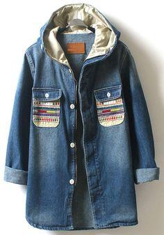 Dark Blue Plain Embroidery Denim Coat