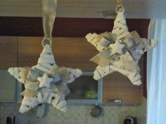 beautiful wooden white stars with silver ribbon and a scented chalk star-shaped.