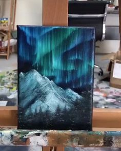 Wasserfarben kunst Relocate or Renovate? Mini Toile, Whale Painting, Mini Canvas Art, Aesthetic Painting, Acrilic Paintings, Painting Videos, Painting Tutorials, Light Painting, Painting Northern Lights