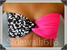 Pink Floral Bandeau Top Spandex Bandeau Bikini Bandeau Swimsuit