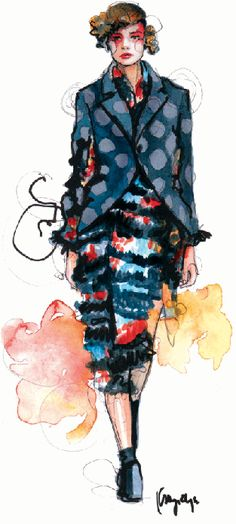 Funky!  Not my style... so what?  I need to try something outside of my comfort zone.  Comme Des Garcons Fall 2011 Kathryn Elyse Rodgers