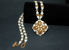 Beadwork Golden Pearl pendant on beadwoven by craftybeadcollection