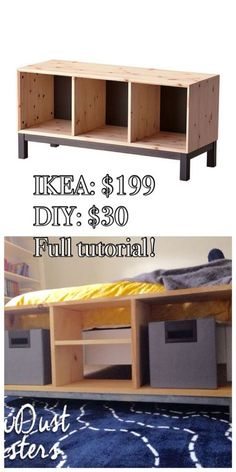 IKEA NORNAS bench with storage compartments. Step by step tutorial!