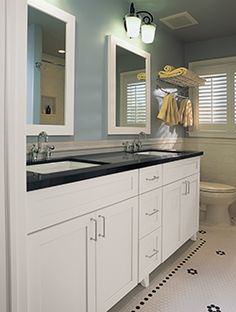 double white wooden vanity decor with black granite counter top and two square wall mirror. Appealing White Bathroom Vanity With Black Granite Top Ideas