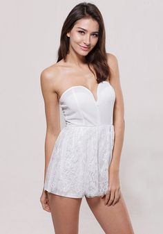 Pure, sexy and sassy. This white strapless sweetheart lace romper has a sweetheart neckline and full floral lace covered bottom.   Lookbook Store Jumpsuits and Rompers