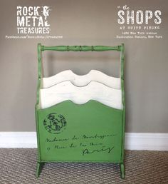 Reloved magazine rack painted with Antibes Green Annie Sloan chalk paint and dark wax! #rocknmetaltreasures