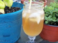 """Southern Iced Tea Cocktail: """"Sure did like the taste of this on a muggy afternoon! And I was excited to use the new glass that I got for Mother's Day - a Mason jar on a candlestick!"""" -alligirl"""