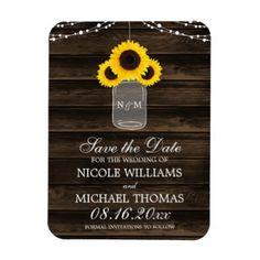 #Rustic Sunflower Mason Jar Barn Wood Save the Date Magnet - #WeddingMagnets #Wedding #Magnets Wedding Magnets