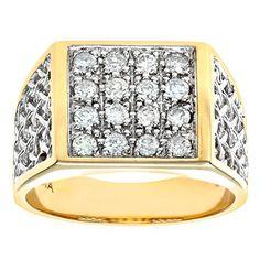Naava 9ct Yellow Gold Diamond Gents Cluster