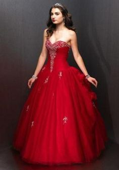 Red prom dresses - strapless ball gown