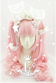 Cute bunny ear Lolita hair accessory from ciciwork.taobao.com