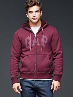 Arch logo sherpa zip hoodie
